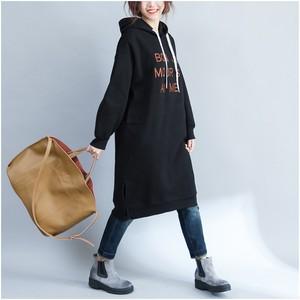 大きいサイズ 英字刺繍ロングパーカー 裏起毛 パーカーワンピース ゆったり 秋冬 Fグリーン