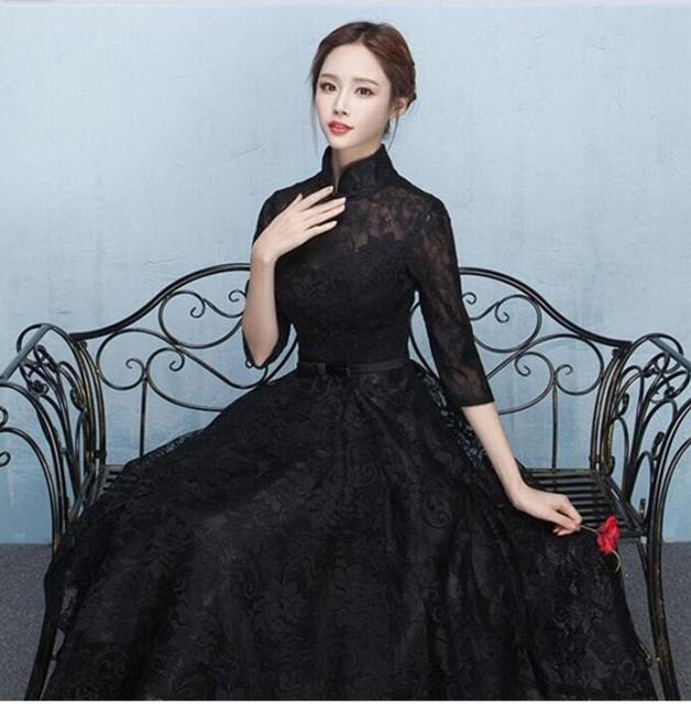 パーティードレス 結婚式 ロングドレス 立ち襟 ドレス 袖あり ウェディングドレス 二次会ドレス レースアップ パーティドレス 黒ドレス の通販はWowma!