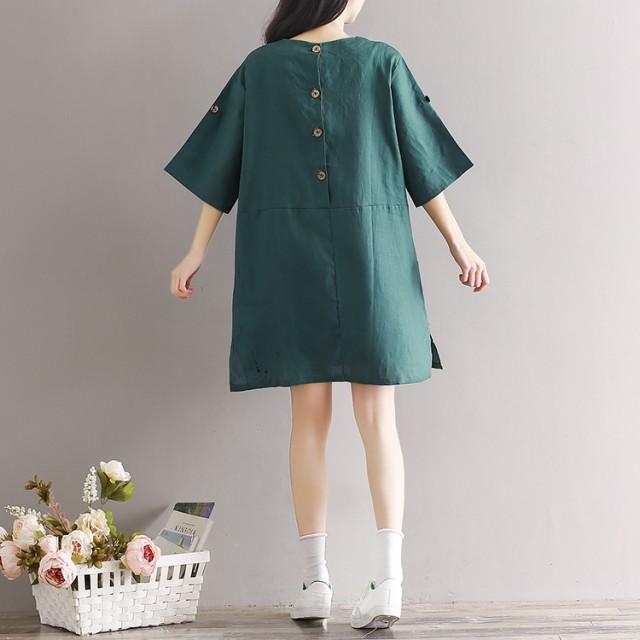 シンプルなデザインが可愛らしい♪リネンミニ丈ワンピース 【春】【夏】