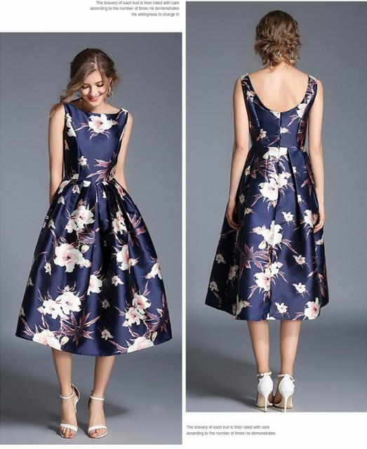 Aラインワンピ/ノースリーブ/フォーマル/フレアワンピース ロング/パーティードレス/ プリント 花柄ドレス/きれいめ お呼ばれ 通勤