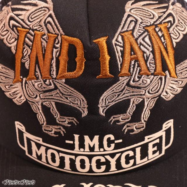 インディアンモトサイクル ツインイーグル 刺繍 ツイル メッシュキャップ(IMCP-702)INDIAN MOTOCYCLE CAP 帽子 メンズ