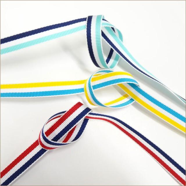 ストライププリント グログラン リボン TYPE A 15mm 30m巻 全35色 SHINDO 服飾  手芸 ハンドメイド SIC-1000-150