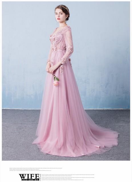 秋冬物 長袖 ウェディングドレス ロングドレス パーティードレス フェミニン トレーン 発表会 宴会 演奏会 ピンク 編み上げ