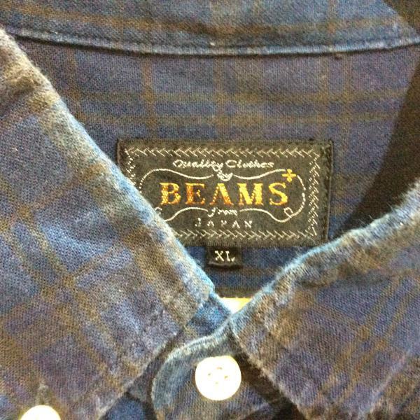 ビームス 半袖シャツ チェック 177720 紺 / ネイビー BEAMS チェック