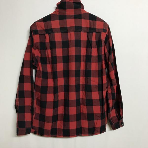 ビームス 長袖 スタンドカラー シャツ 0107100052264 黒 / ブラック × 赤 / レッド BEAMS チェック 印字消えて読めない