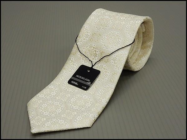西陣織 フォーマルネクタイ◇シャンパン×銀糸◇更紗模様◆シルク100%◇日本製◆礼装◆結婚式・披露宴 メール便可