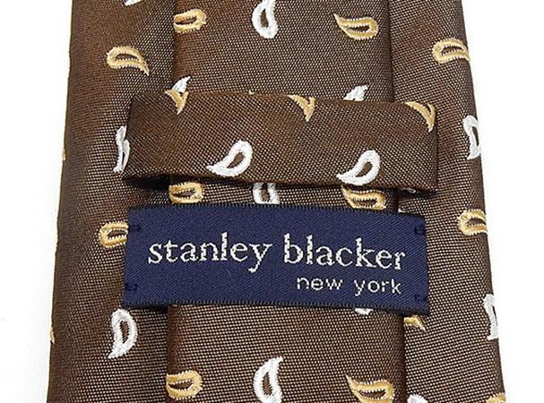 stanley blacker(スタンリー ブラッカー) ネクタイ 日本製 茶系 ペイズリー柄 シルク100% レップタイ メール便可