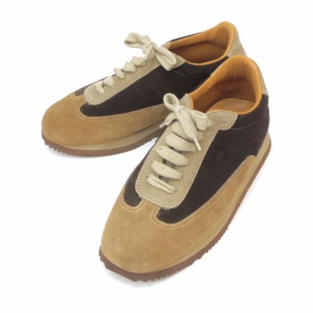 最新入荷 エルメス こげ茶×ベージュ HERMES 37.1/2(47709) スニーカー スエード クイック-靴・シューズ