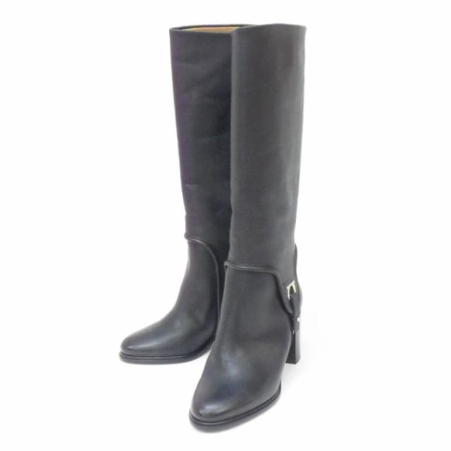 【ご予約品】 5・1/2D レザー ロングブーツ 【】(48467) フェラガモ Ferragamo ガンチーニ 黒-靴・シューズ