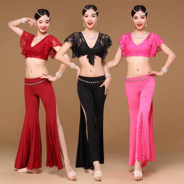 ベリーダンス インドダンス チャチャチャ 練習服 三色 レース 上下セット セクシー ダンス衣装 rysk01411(rysk01411)
