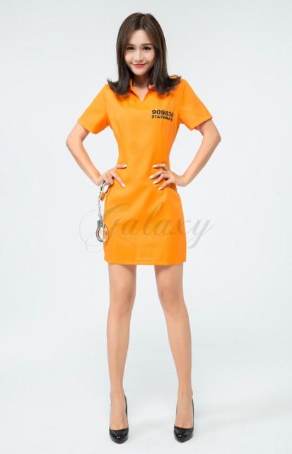 057b49829afe1 ハロウィン 囚人服 泥棒 オレンジ ワンピース 手錠付き セクシー コスチューム コスプレ衣装 ps3480