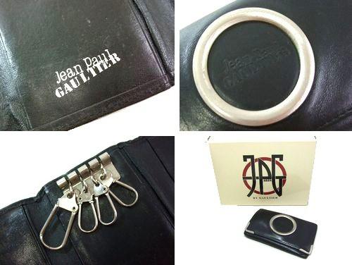 廃盤 Jean Paul GAULTIER ジャンポールゴルチエ 黒メタルカメオフレームレザーキーケース (ゴルチェ) 047770