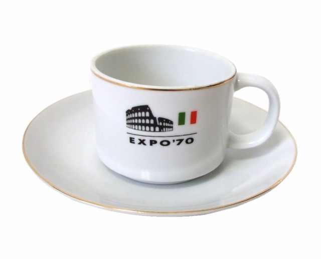 vintage EXPO'70 大阪万博 めいぎん 世界風俗 カップ&ソーサー (エキスポ 当時物 マグカップ イタリア ローマ 名古屋銀行) 083632