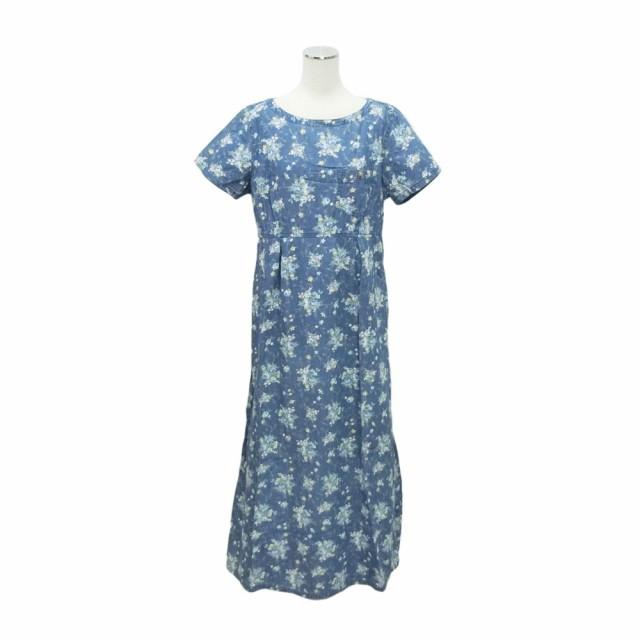 e2fe9dea0cb LIZ claiborne Indigo floral design software denim dress「10」リズクレイボ-ン インディゴ 花