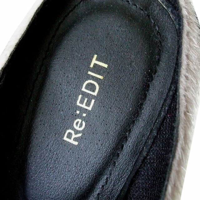 新品同様 Re:EDIT リエディ「L」ファーサンダルシューズ (シルバー 靴) 104133