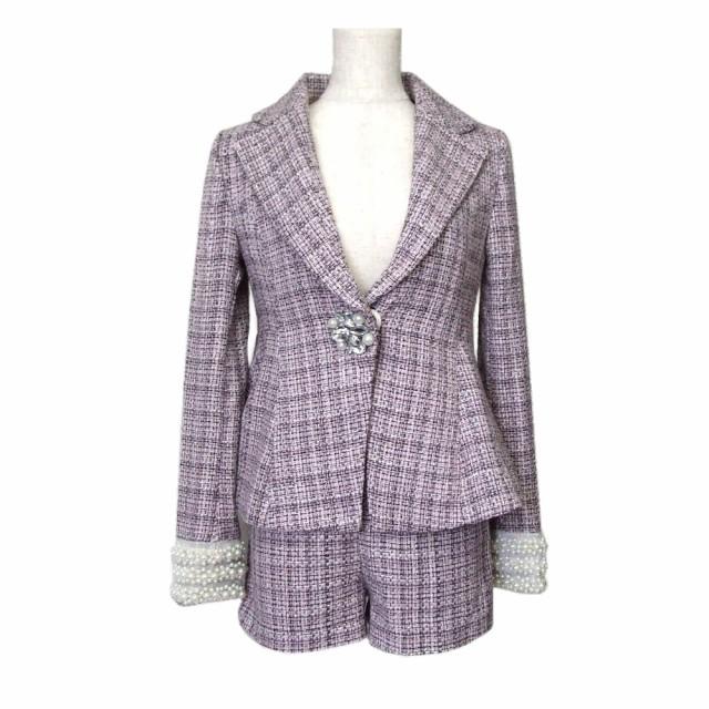 【新品】 Delyle NOIR デイライル ノアール 宝飾セットアップスーツ (ピンク 装飾 ショートパンツ) 107025