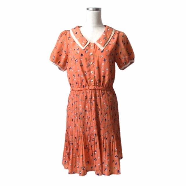 美品 LOWRYS FARM ローリーズファーム フェミニンフラワーワンピース (オレンジ 花柄 ドレス) 110771【】