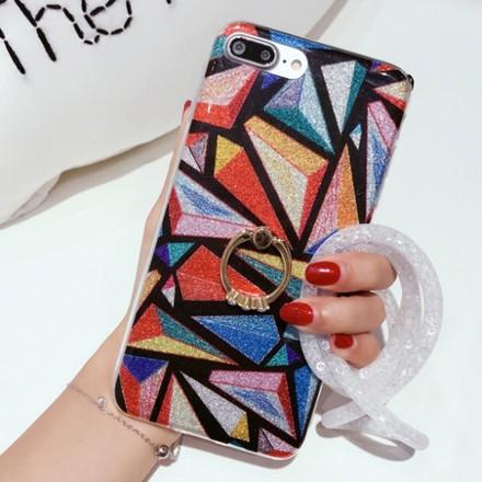 d3558fa702 iPhone ケース カバー 7 6 6s plus カラフル 派手 ウロコ タイル ラメ 柄 オシャレ 可愛い リング