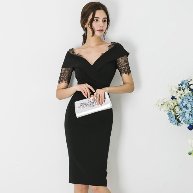 fb691ebd0b8dd 韓国 パーティードレス レース 深Vネック ワンピースドレス 大きいサイズ タイト ボディコン ドレス セクシー お呼ばれ