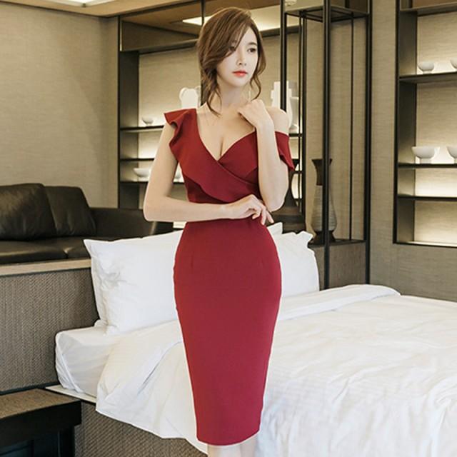 ab4d25f9f9d60 韓国 パーティードレス 深Vネック ワンピース ドレス セクシー ワンショルダー タイト 胸元 結婚式 お呼ばれ