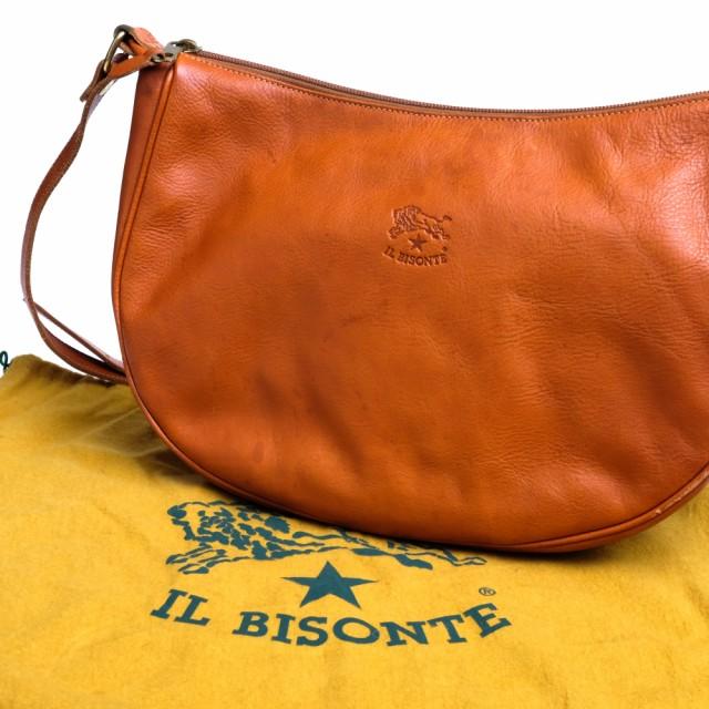 ○イルビゾンテ IL BISONTE A0322/MP 145 三日月型 ラウンドフォルム ショルダーバッグ レディース 中古