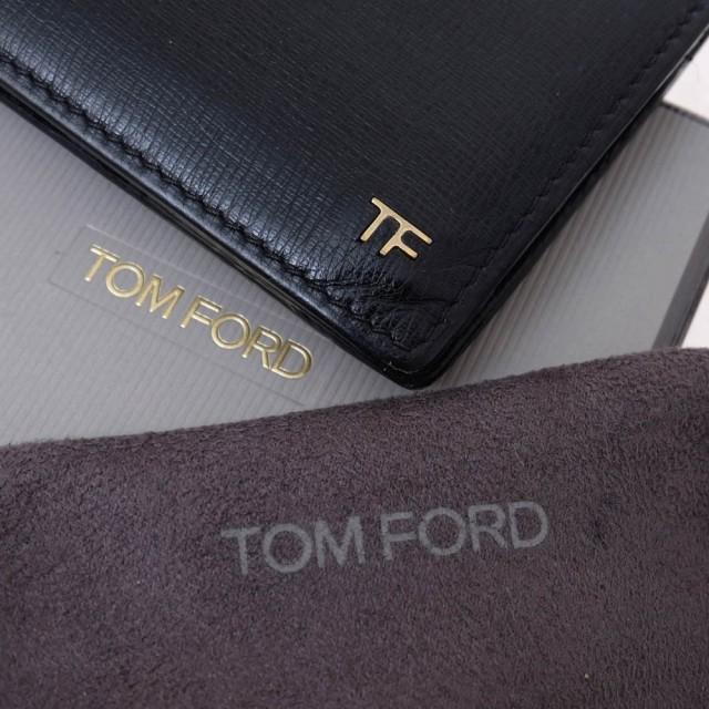 ○トムフォード TOM FORD y0136c-alc-blk 二つ折り TFロゴ 財布 メンズ 中古