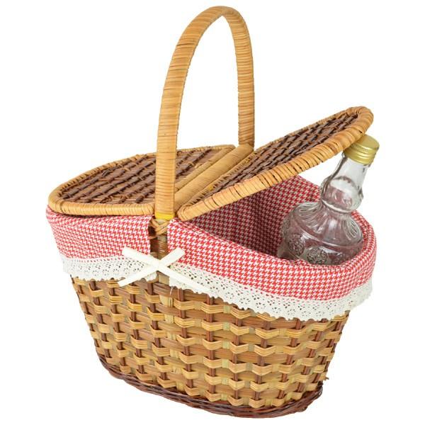 ピクニックバスケット 天然素材 かごバッグ ふた付き