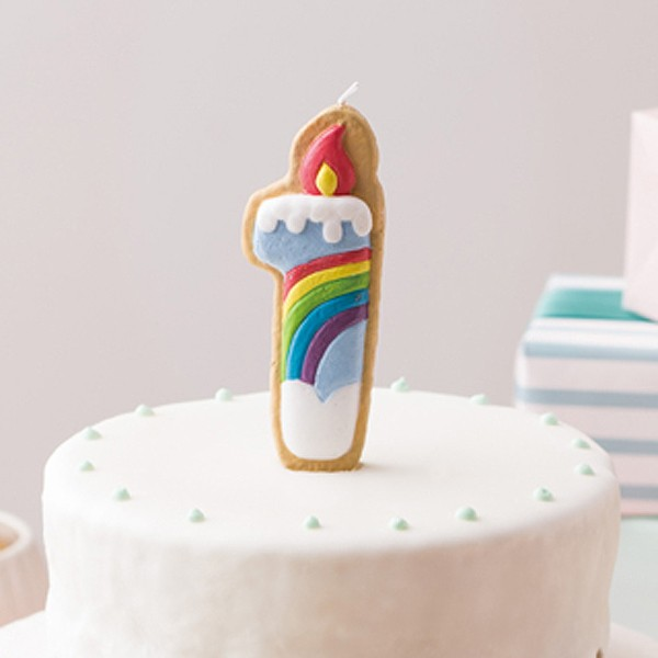 ナンバーキャンドル ろうそく 数字 クッキー 1番 虹