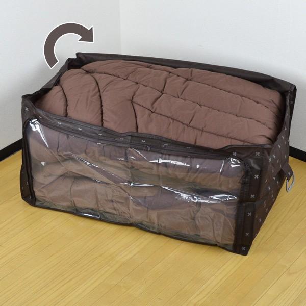 布団収納袋 幅100×奥行65×高さ50cm ブラン ハンドル付ふとん袋 透明窓付き