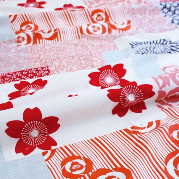 風呂敷 着物包み 晴れ着つつみ 花づくし アカ 150cm 大判