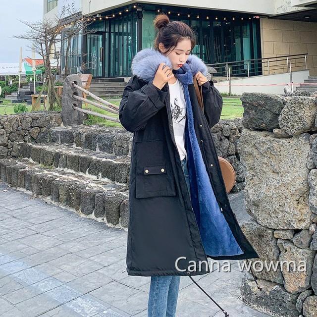 ダウンコート レディース ミディアム丈 款2018冬季 新品 大活躍 ゆったり大 ファー襟 学生 アウター中綿コート