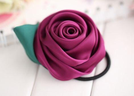 【お取り寄せ】ヘアゴム かわいい サテンリボン バラ 2色セット