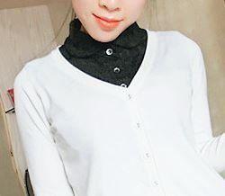 付け襟 ブラウス風 レース素材 単色 フェイク 丸襟 (ブラックA)