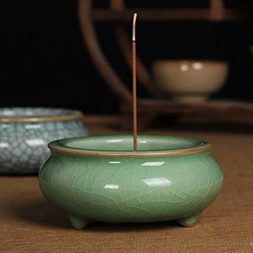 香炉 お線香立て シンプル 和風 陶器製 (ライトグリーン)
