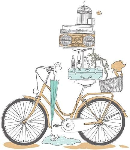 お取り寄せウォールステッカー レトロ おしゃれな自転車 積み上げた