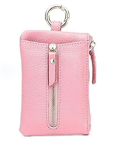 【お取り寄せ】キーケース シンプル 小銭入れ付き レザー製 (ピンク)