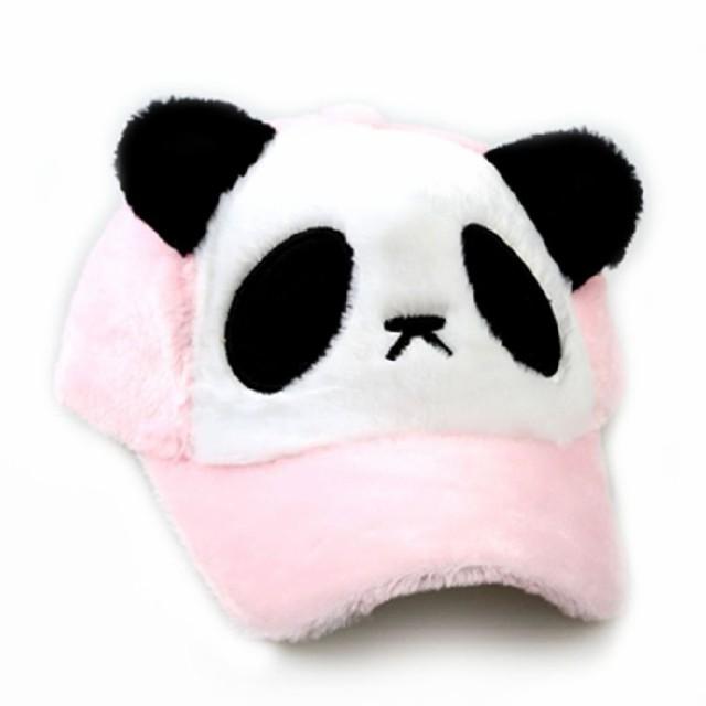 【お取り寄せ】キャップ 帽子 パンダ ふんわり ボア 耳付き (ピンク)
