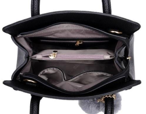 2wayバッグ エレガント 編み込み風の縁 リーフ & ボンボン チャーム付き (パープル)