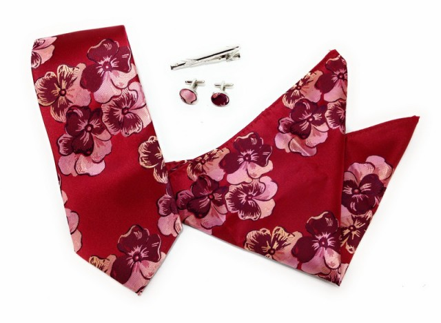 【お取り寄せ】ネクタイ ポケットチーフ タイピン カフス フラワー柄 刺繍風 4点セット (レッド)
