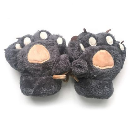 【お取り寄せ】手袋 ハーフフィンガー モコモコ 動物の手風 肉球 無地 紐付き (グレー)