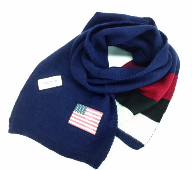 【お取り寄せ】ロングマフラー 星条旗ワッペン 3色ボーダー (ネイビー)