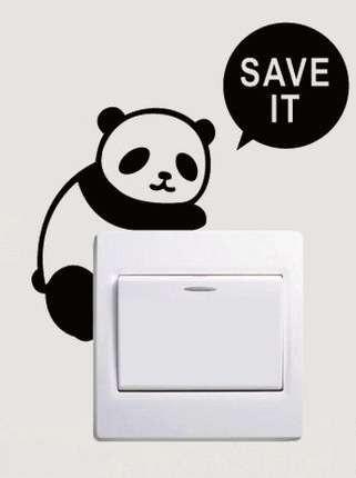 ウォールステッカー スイッチカバー用 save it ぶら下がるパンダ 5枚