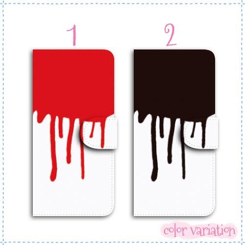 AQUOS PHONE SERIE 手帳型 スマホケース SHL22 ケース 分厚い白革 垂れペンキ/W
