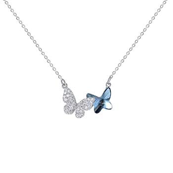 日本最大級 Taiyoko Sterling Silver Necklace for Women Blue Crystal Butterfly Necklace Butterfly Pendant Necklace (Butterflies_2), 美禰郡 daf8e6a5