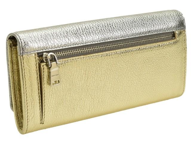 ミュウミュウ MIUMIU パスケース付き 二つ折り長財布 シルバー×ゴールド レザー 5mh109madfio-crpi
