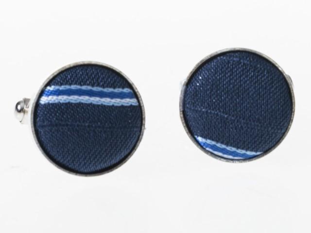丸型 布+合金製 お洒落 ビジネス カジュアル 2枚組 カフリンクス スーツ 正装 アクセサリー#ストライプ青B 送料込