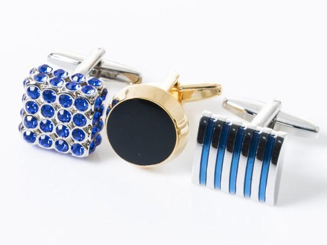 メンズファッション ビジネス カジュアル スーツ 上品感 カフスボタン カフリンクス#丸型ブラック+ゴールド 送料込