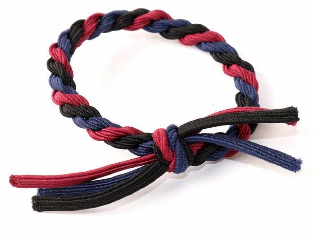 可愛い お買い得 リボン編み 髪飾り ヘアゴム 小物 太ゴム/3個入り#ブラックx ワインレッドxブルー
