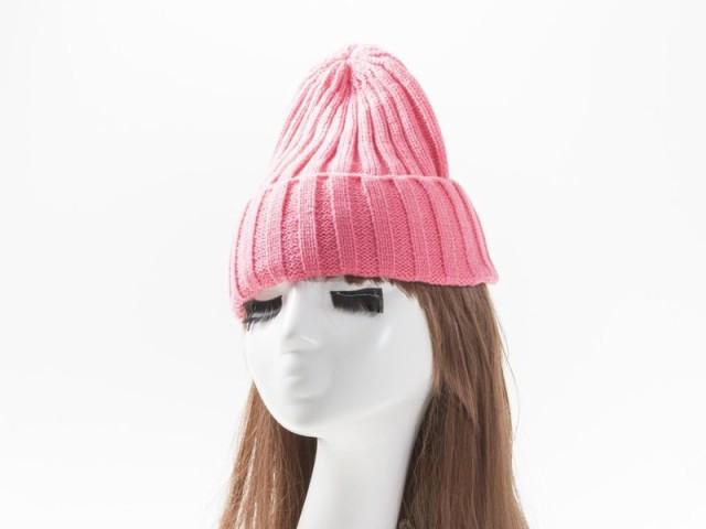 冬ファッション 防寒 男女兼用 カラフル ニットキャップ ニット帽 ワッチ ビーニー#ピンク
