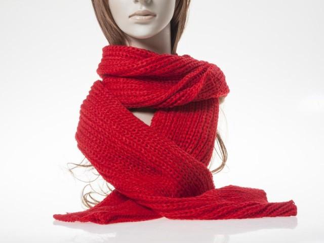 冬 ファッション 男女兼用 防寒対策 お洒落 手編み風 シンプル ニット ショール マフラー/200cm# レッド 送料込